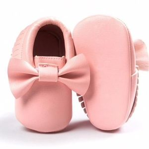 Other - Pink bow soft sole baby girls moccasin shoes